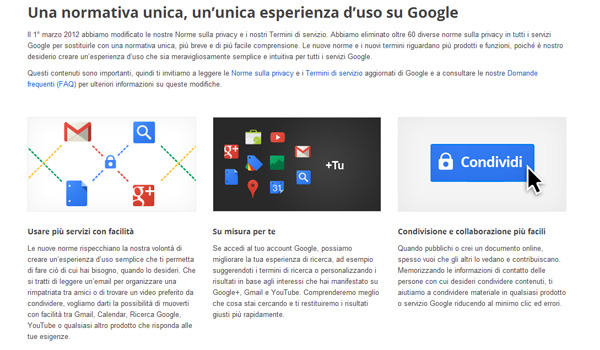 Google: nuove politiche per la privacy